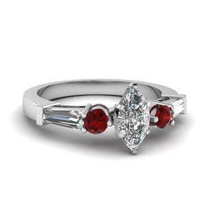 Beautiful Marquise Diamond Ring With Ruby