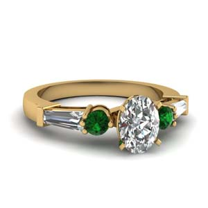 Oval Shaped Ring With Baguette