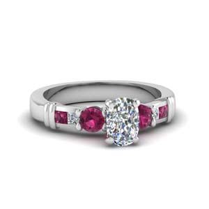 Pink Sapphire Side Stone Ring