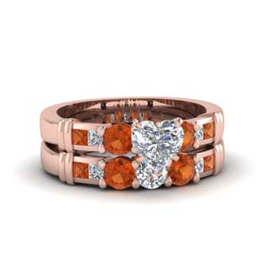 Rose Gold Heart Shaped Ring Set