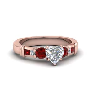 Accent Ruby Engagement Ring