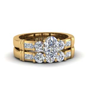 Bar Diamond Wedding Ring Set