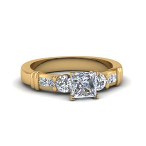classic 1.25 ct. princess cut bar design diamond engagement ring in 14K yellow gold FDENS286PRR NL YG