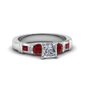 6b350937980101 Princess Cut Bar Design Diamond Ring Preset Engagement Rings with Red Ruby  in 950 Platinum