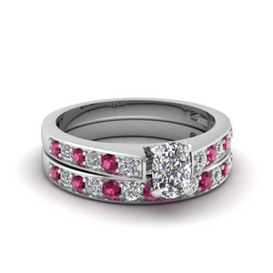 Pave Pink Sapphire Ring Set