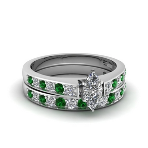 Marquise Cut Emerald Ring Set