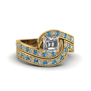 Blue Topaz Pave Ring With Band