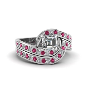 Swirl Pave Diamond Wedding Set