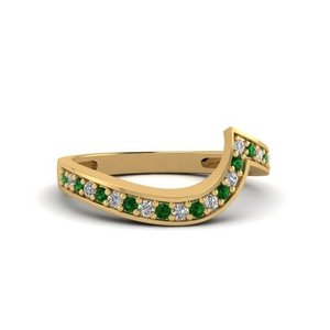 Emerald Pave Diamond Wedding Band