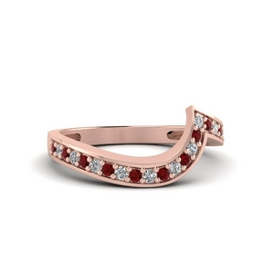 Swirl Pave Ruby Wedding Band