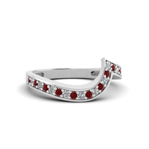 Curved Design Ruby Wedding Band