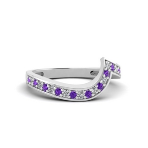Curved Purple Topaz Wedding Band