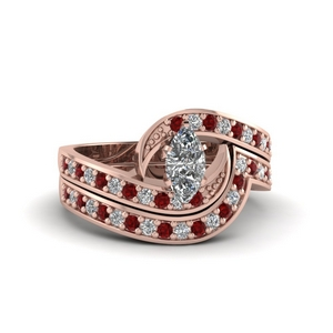 Twist Pave Bridal Set With Ruby