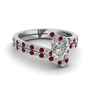 Ruby Bridal Ring Set