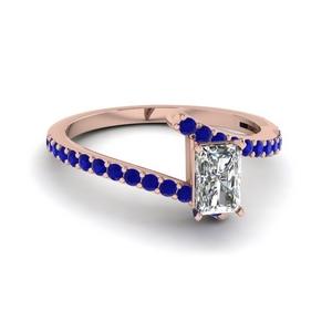 bypass radiant diamond engagement ring with sapphire in FDENS3007RARGSABL NL RG GS