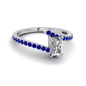 bypass radiant diamond engagement ring with sapphire in FDENS3007RARGSABL NL WG GS