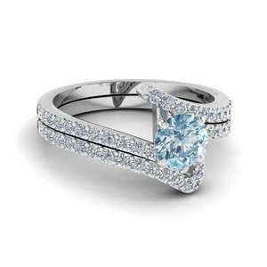 Aquamarine Swirl Wedding Set