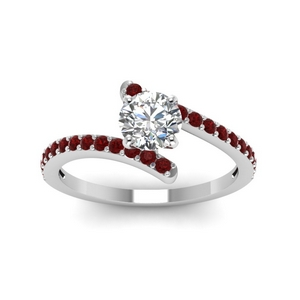 63c26ac33552da delicate bypass diamond engagement ring with ruby in FDENS3007RORGRUDR NL  WG GS. Add to Cart