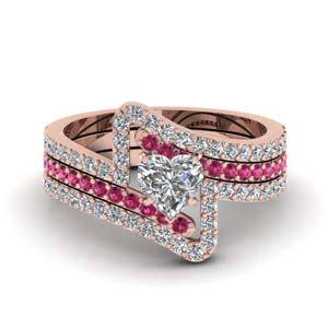 crossover heart diamond trio wedding ring set with pink sapphire in FDENS3007THTGSADRPIANGLE1 NL RG