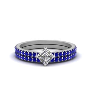 Asscher Cut Wedding Sets  With Sapphire