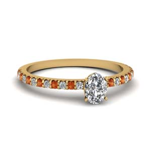 Thin Orange Sapphire Engagement Ring