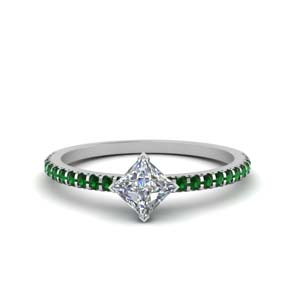 Platinum Delicate Emerald Ring