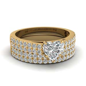 2 Row Diamond Wedding Set