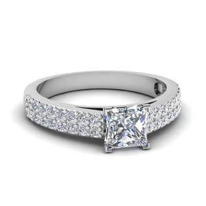 White Gold Princess Cut Side Stone Rings