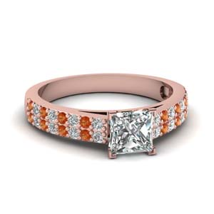 2 Row Pattern Orange Sapphire Ring