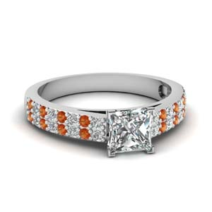Moissanite Princess Cut Side Stone Rings
