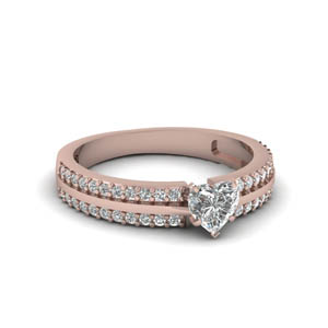 2 Row Heart Diamond Ring