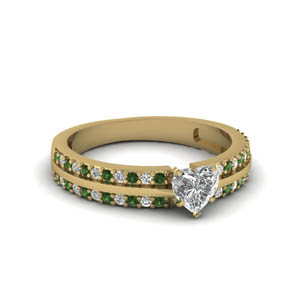Emerald Heart Shaped Pave Ring