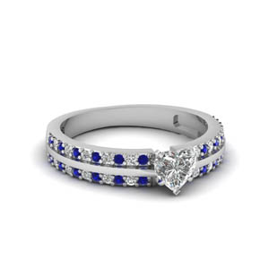 Sapphire With Heart Shaped Pave Ring