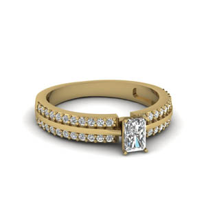 14K Yellow Gold Pave 2 Row Moissanite Ring