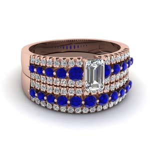 triple row emerald cut diamond wedding ring sets  with blue sapphire in 14K rose gold FDENS3014EMGSABL NL RG