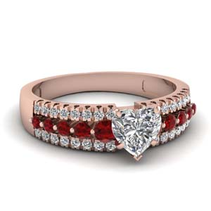 Heart Shaped Triple Row Ring