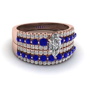triple row marquise shaped diamond wedding ring sets  with blue sapphire in 18K rose gold FDENS3014MQGSABL NL RG
