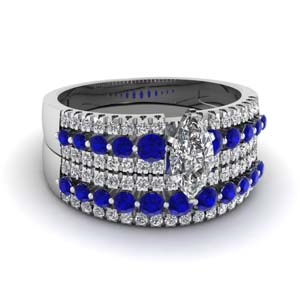 triple row marquise shaped diamond wedding ring sets  with blue sapphire in 18K white gold FDENS3014MQGSABL NL WG