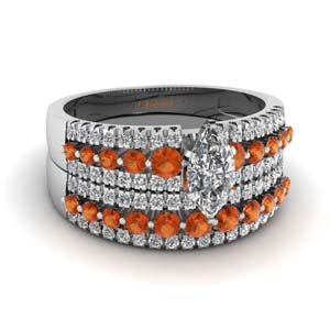 triple row marquise shaped diamond wedding ring sets  with orange sapphire in 14K white gold FDENS3014MQGSAOR NL WG