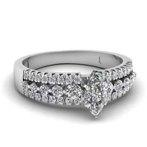 Marquise Shaped Multi Row Ring