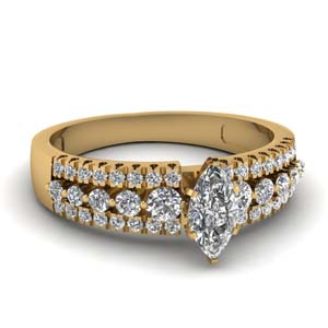 1 Carat Triple Row Diamond Ring