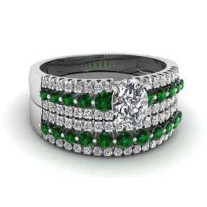 triple row oval shaped diamond wedding ring sets  with green emerald in 14K white gold FDENS3014OVGEMGR NL WG