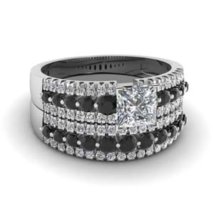 triple row princess cut wedding ring set with black diamond in 14K white gold FDENS3014PRGBLACK NL WG
