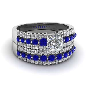triple row princess cut diamond wedding ring sets  with blue sapphire in 14K white gold FDENS3014PRGSABL NL WG