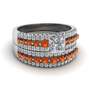 triple row princess cut diamond wedding ring sets  with orange sapphire in 14K white gold FDENS3014PRGSAOR NL WG