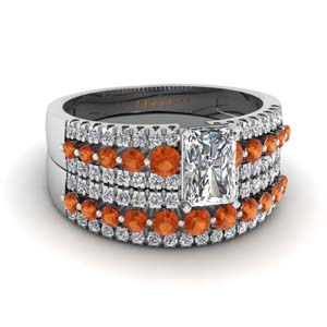 triple row radiant cut diamond wedding ring sets  with orange sapphire in 14K white gold FDENS3014RAGSAOR NL WG