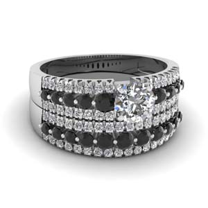 triple row round wedding ring set with black diamond in 14K white gold FDENS3014ROGBLACK NL WG