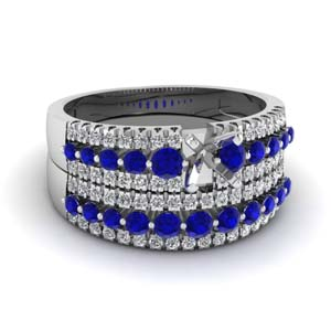semi mount white diamond triple row wedding ring sets with blue sapphire in 14K white gold FDENS3014SMGSABL NL WG