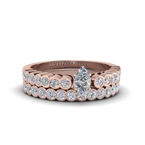 Marquise Shaped Rose Gold Ring Set