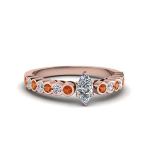 18K Rose Gold Marquise Diamond Ring